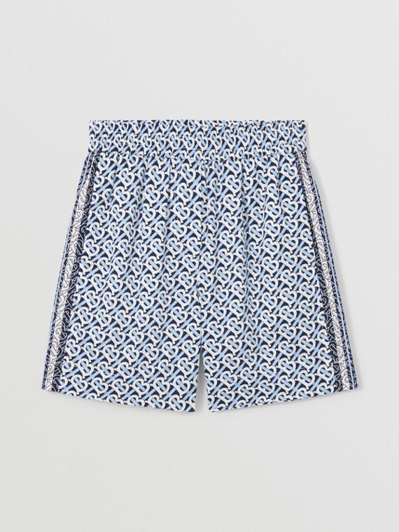 Pantaloncini in cotone con stampa monogramma a righe (Blu Cobalto)