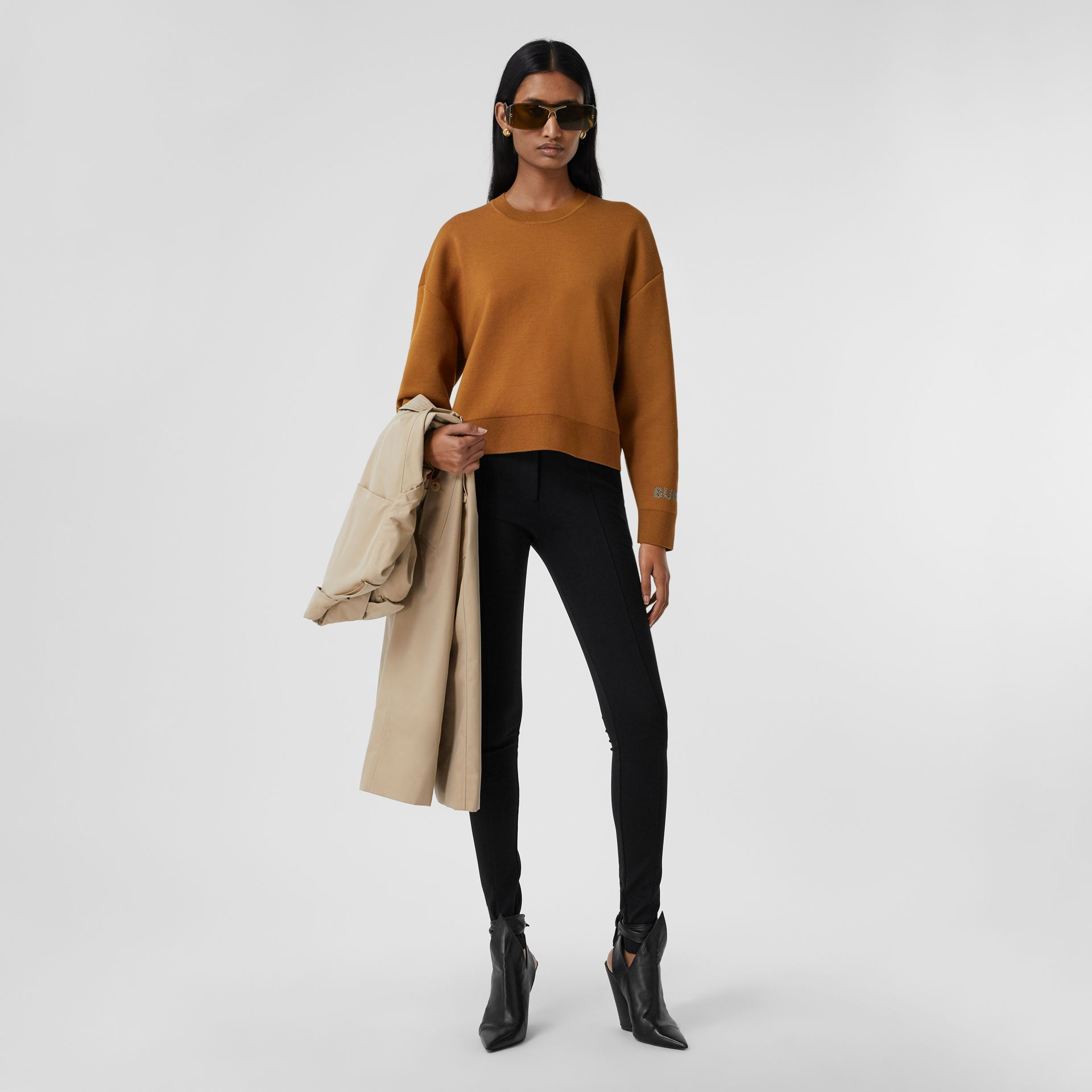 Logo Technical Merino Wool Jacquard Sweater in Chestnut - Women   Burberry - gallery image 0