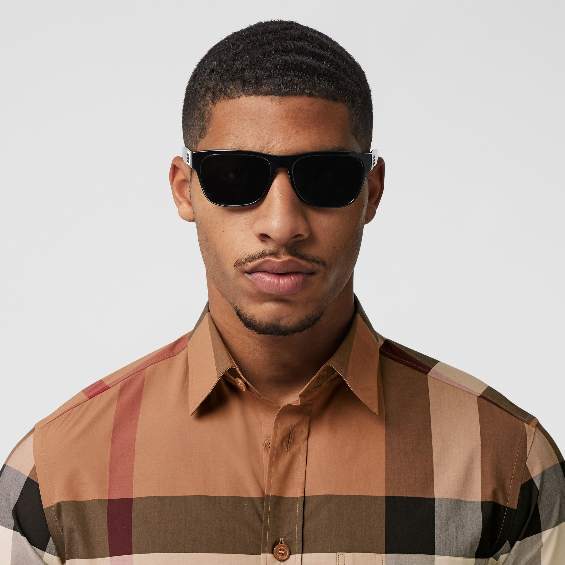 Check Stretch Cotton Poplin Shirt in Birch Brown - Men | Burberry - gallery image 1