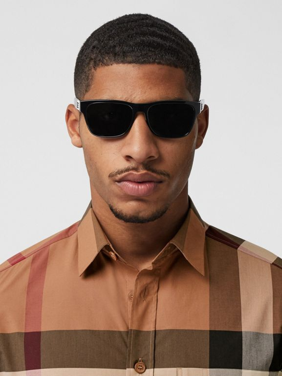 Check Stretch Cotton Poplin Shirt in Birch Brown - Men | Burberry - cell image 1