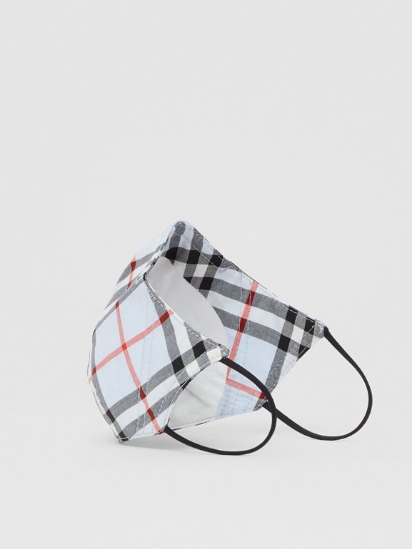 Vintage Check Cotton Face Mask in Pale Blue - Women | Burberry - cell image 1