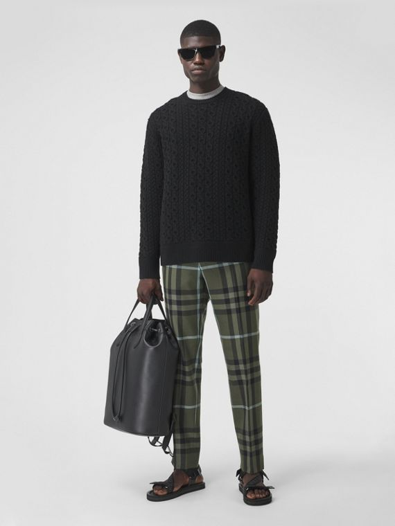 Check Technical Wool Cropped Trousers in Dusky Forest Green
