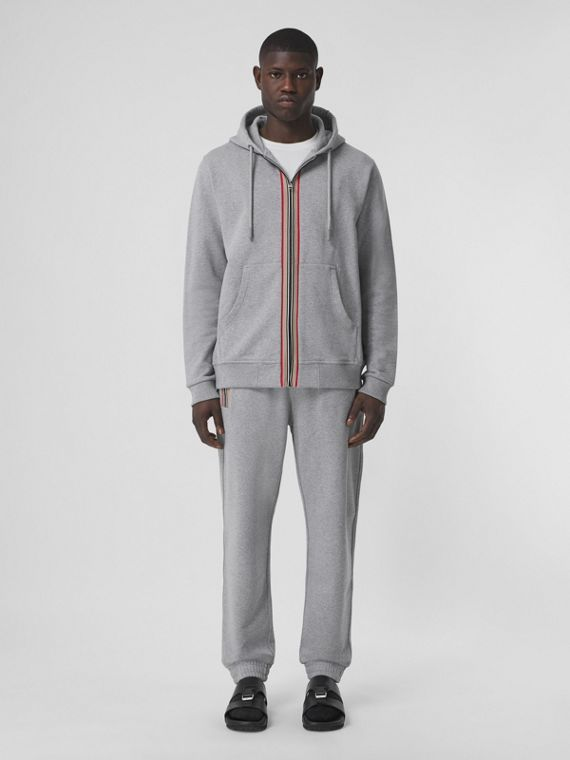 Icon Stripe Detail Cotton Jogging Pants in Pale Grey Melange