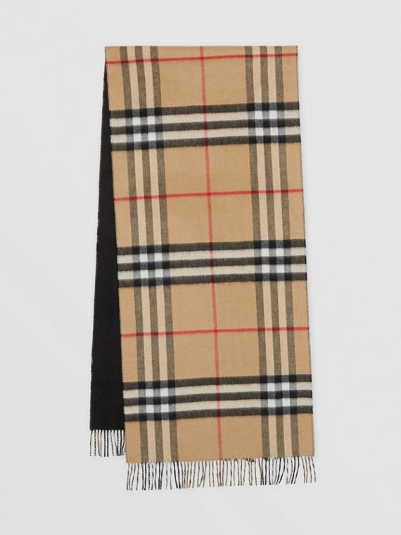 Reversible Check Cashmere Scarf in Black