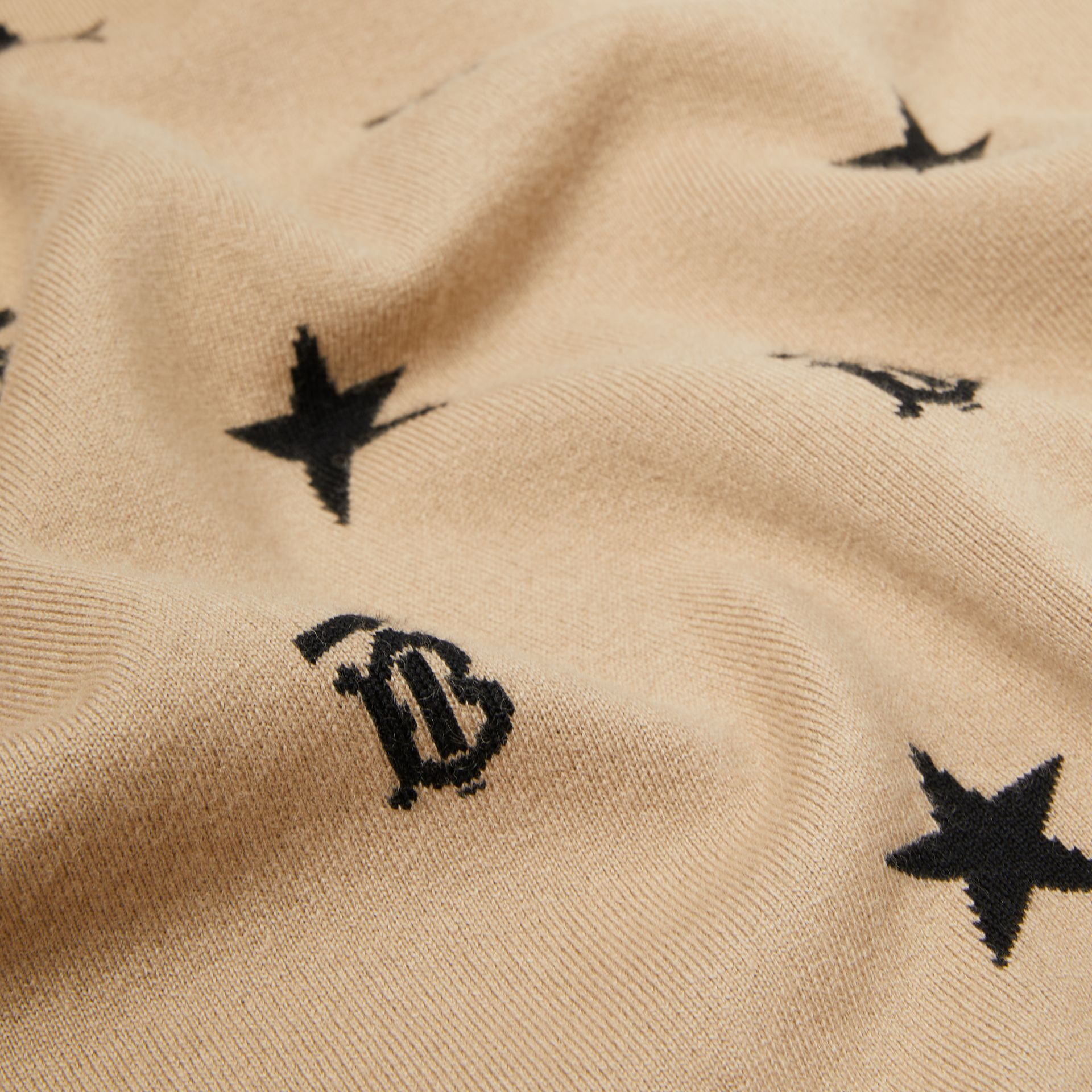 Star and Monogram Wool Cashmere Baby Blanket in Archive Beige - Children | Burberry - gallery image 1