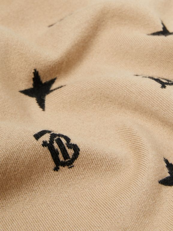 Star and Monogram Wool Cashmere Baby Blanket in Archive Beige - Children | Burberry - cell image 1