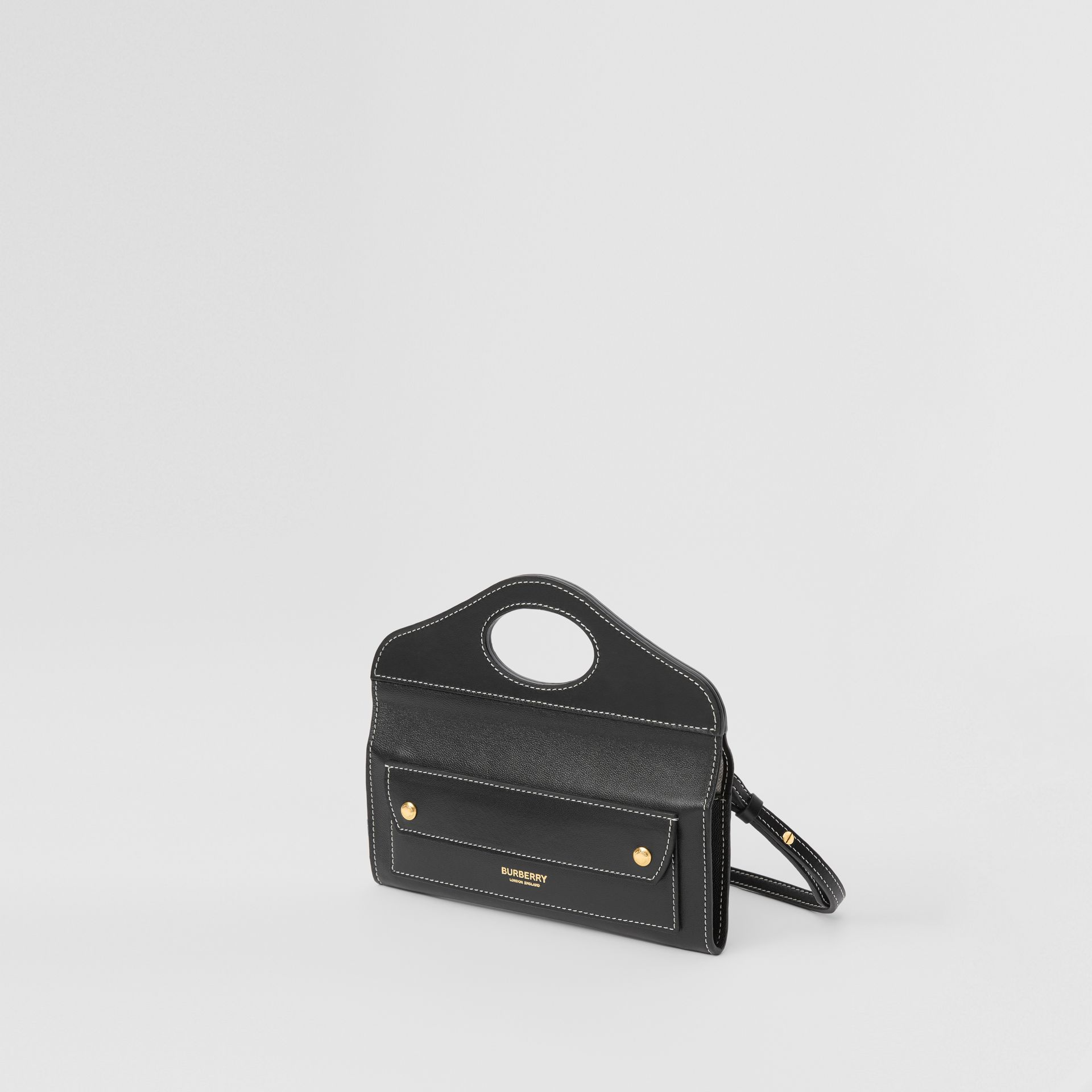 Mini Topstitched Lambskin Pocket Clutch in Black | Burberry - gallery image 4