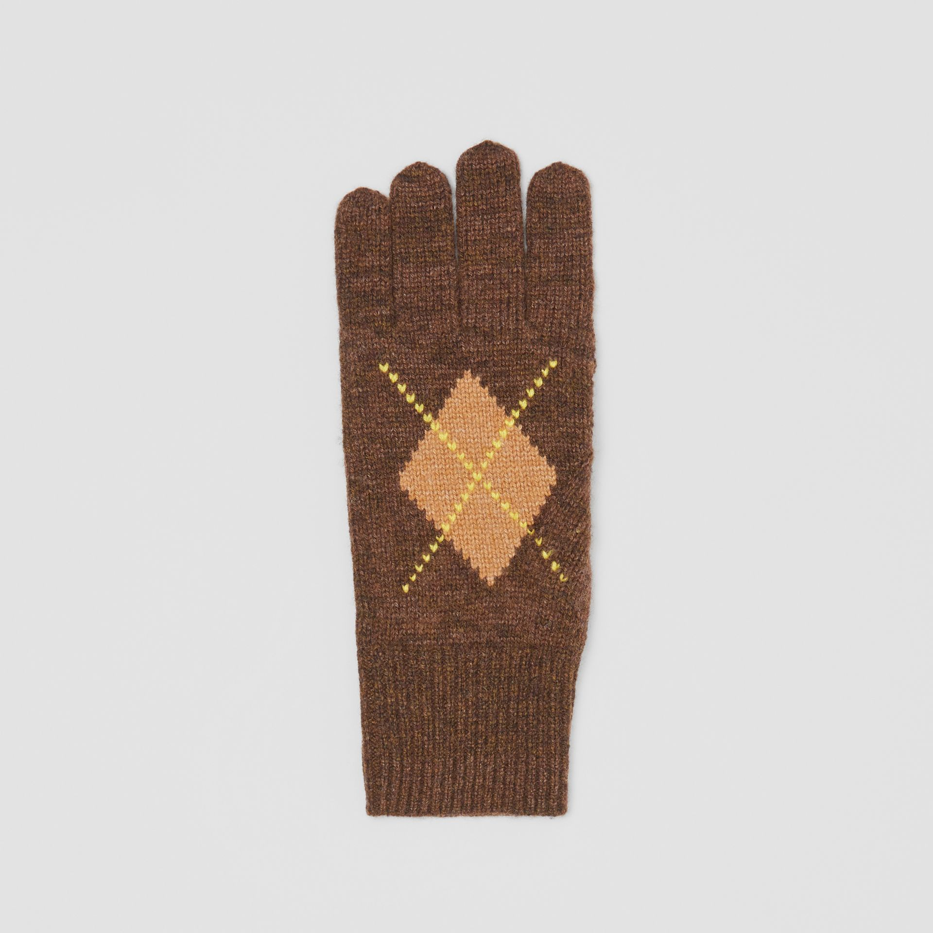 Argyle Intarsia Wool Cashmere Gloves in Brown | Burberry - gallery image 2