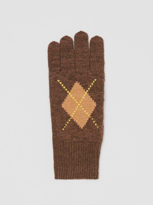 Argyle Intarsia Wool Cashmere Gloves in Brown | Burberry - cell image 2