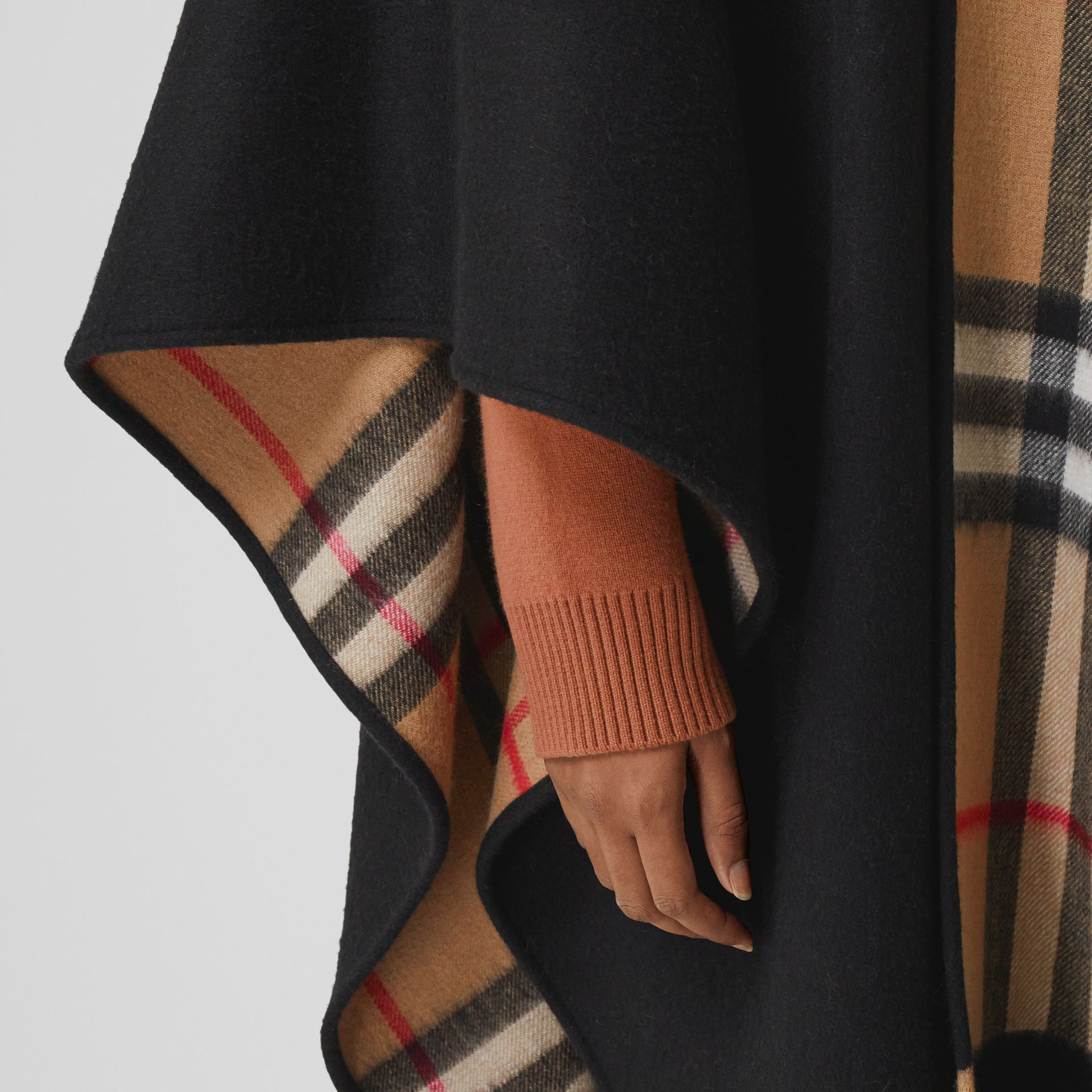 Check-lined Cashmere Merino Wool Cape in Black - Women | Burberry - gallery image 4