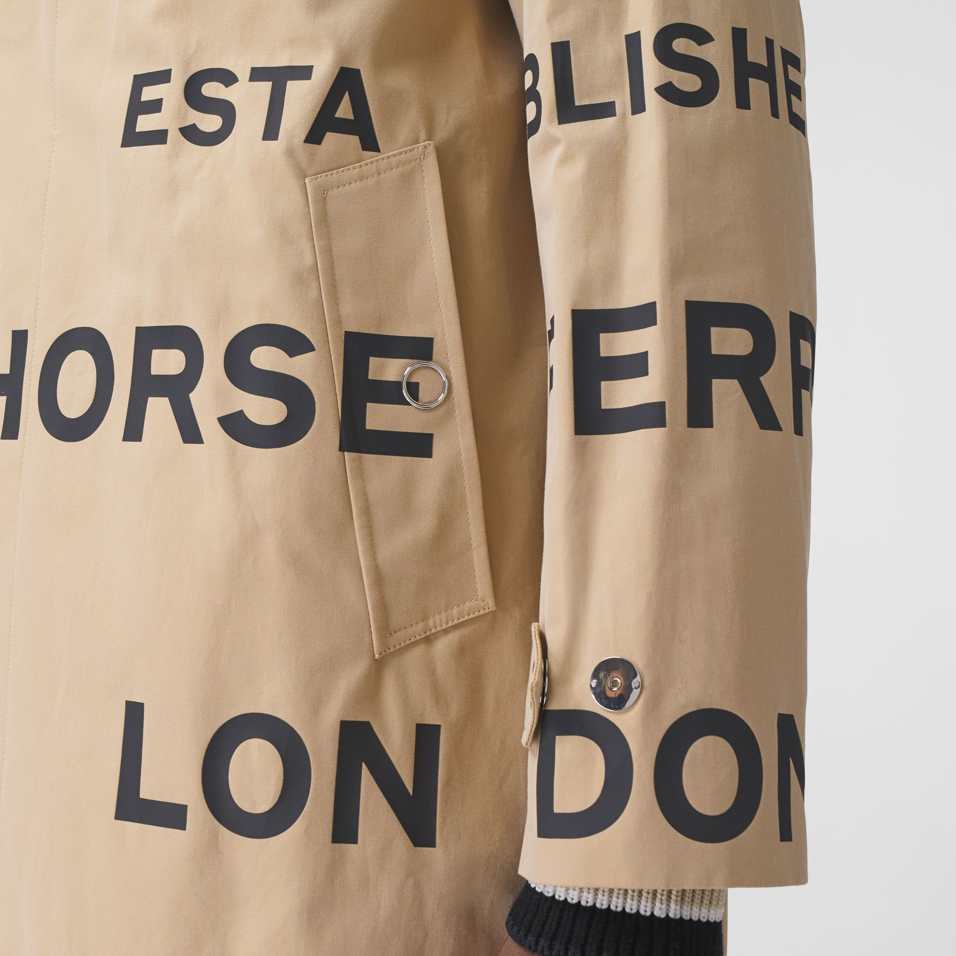Horseferry Print Cotton Gabardine Car Coat in Honey - Men | Burberry - gallery image 4