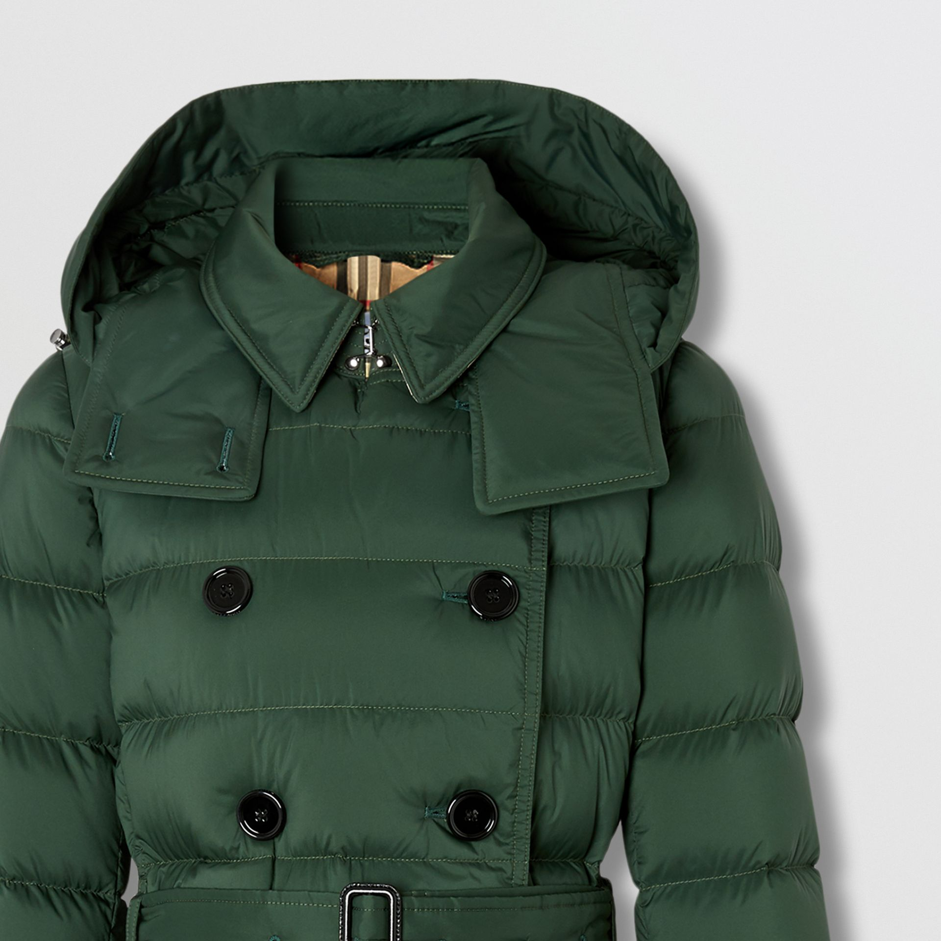Logo Appliqué Detachable Hood Puffer Coat in Dark Pine Green - Women | Burberry Canada - gallery image 7