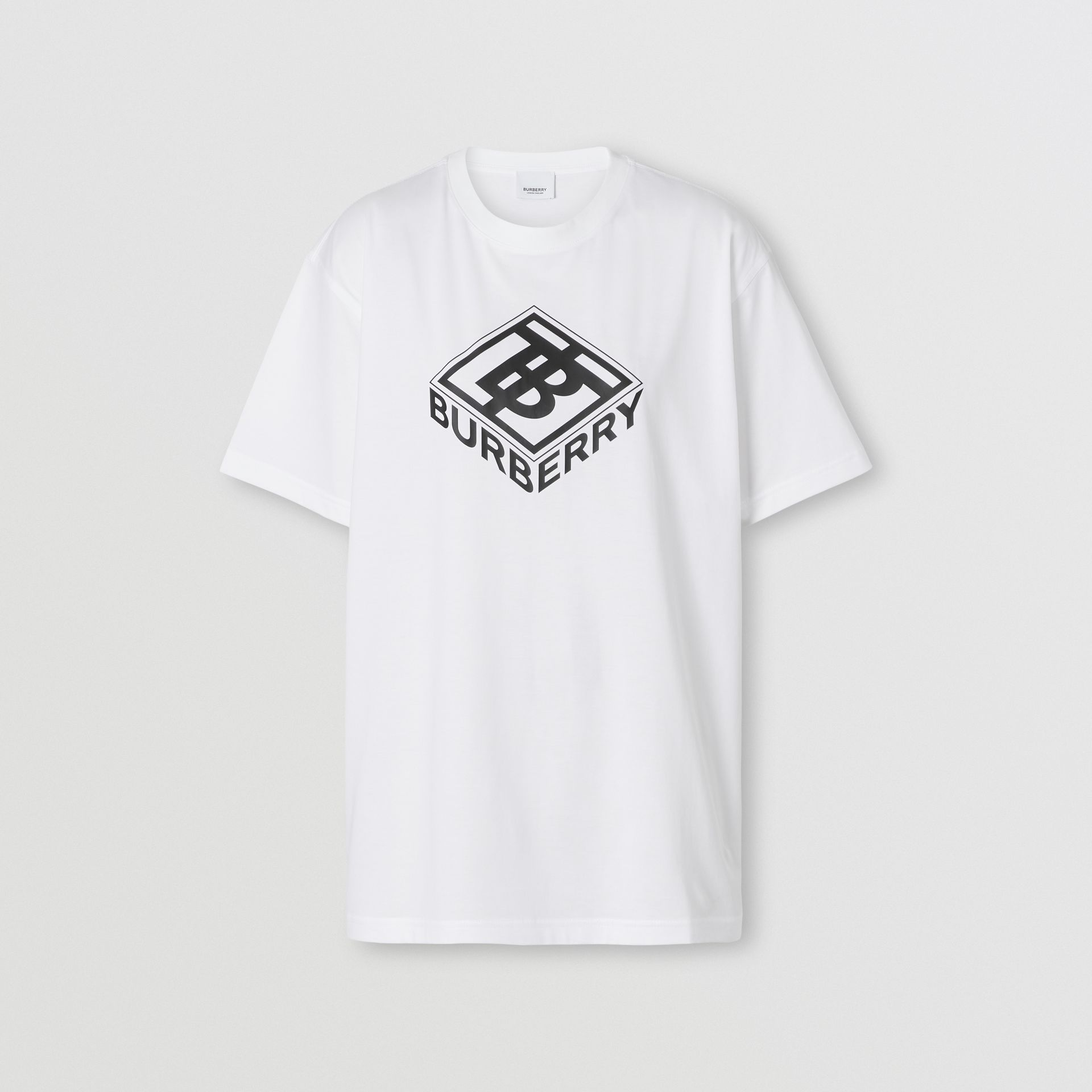 Logo Graphic Cotton T-shirt in White - Women | Burberry Canada - gallery image 0