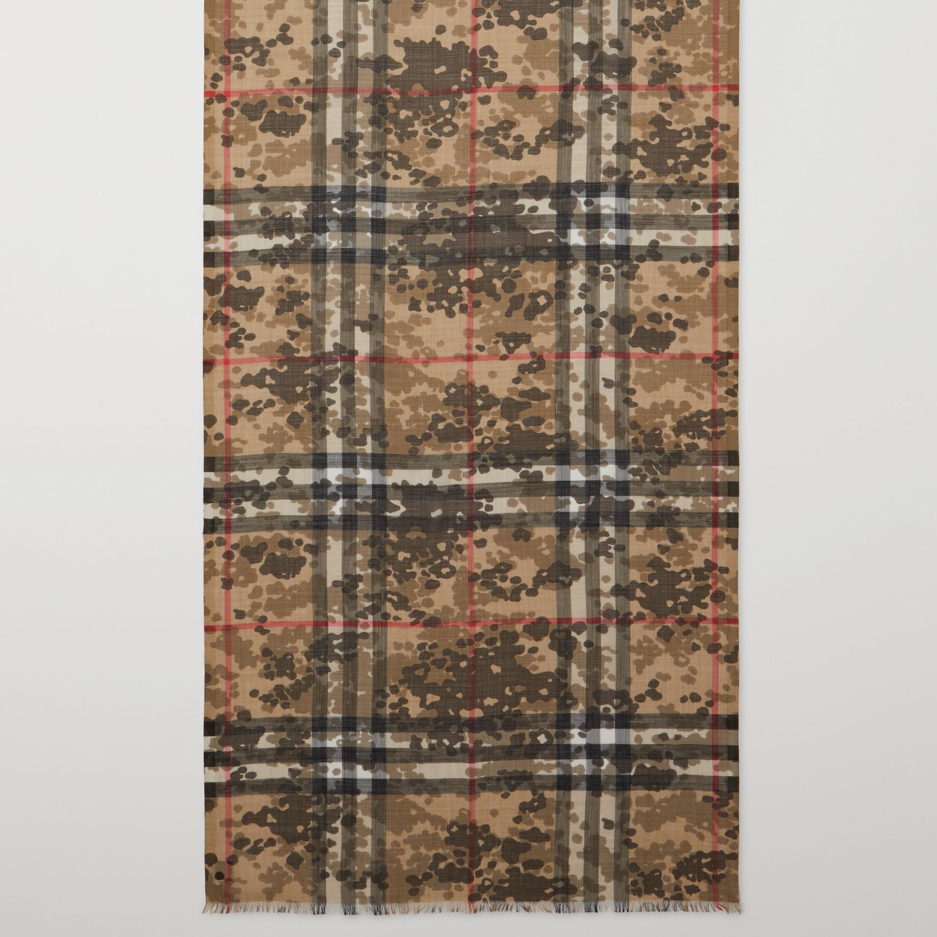 Lightweight Camouflage Check Wool Silk Scarf   Burberry United Kingdom - gallery image 2