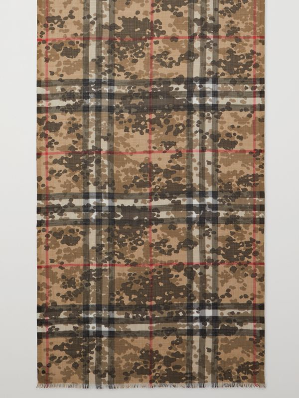Lightweight Camouflage Check Wool Silk Scarf   Burberry United Kingdom - cell image 2