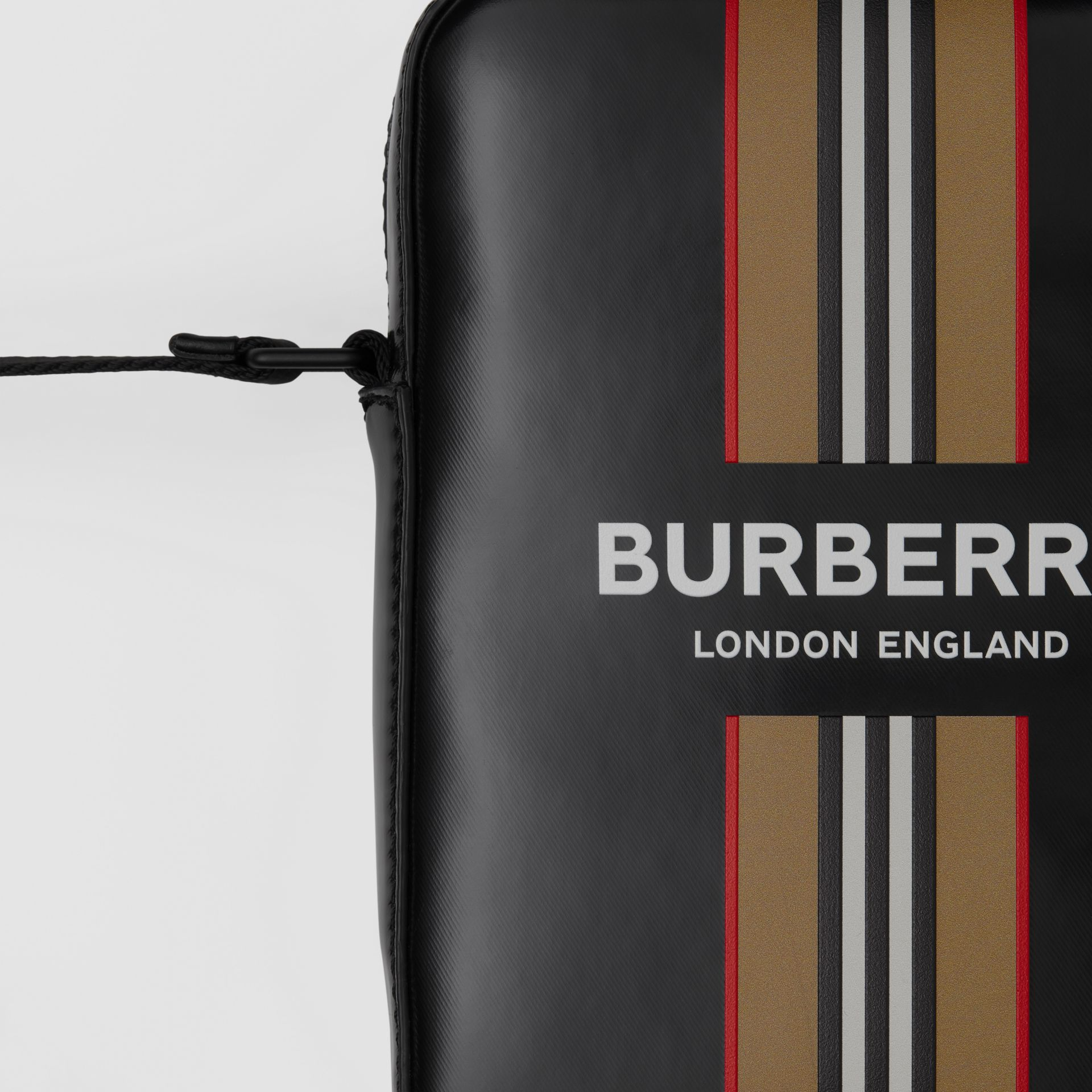 Logo and Icon Stripe Print Crossbody Bag in Black - Men | Burberry United Kingdom - gallery image 1