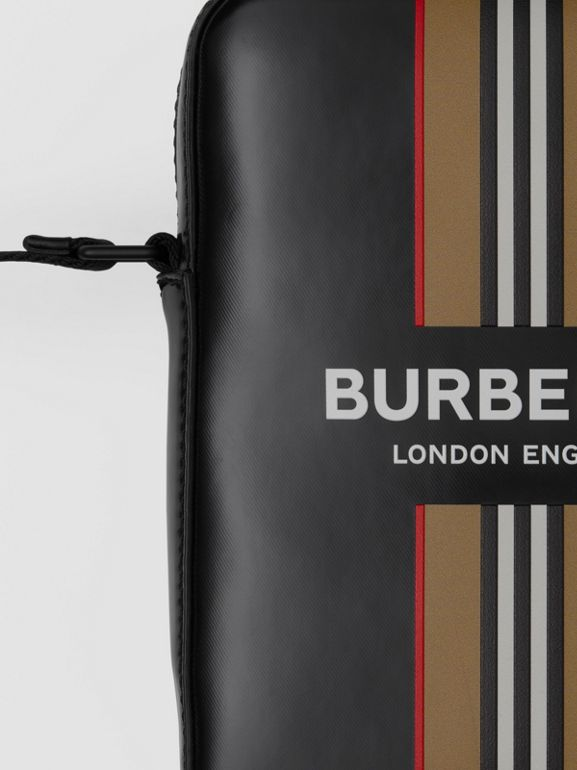 Logo and Icon Stripe Print Crossbody Bag in Black - Men | Burberry United Kingdom - cell image 1