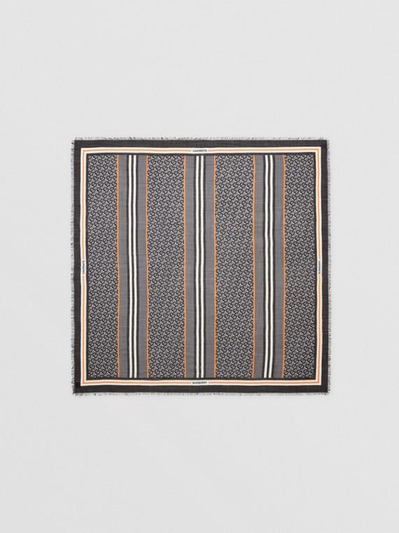 Grand carré en laine et soie Monogram avec rayures iconiques (Graphite)