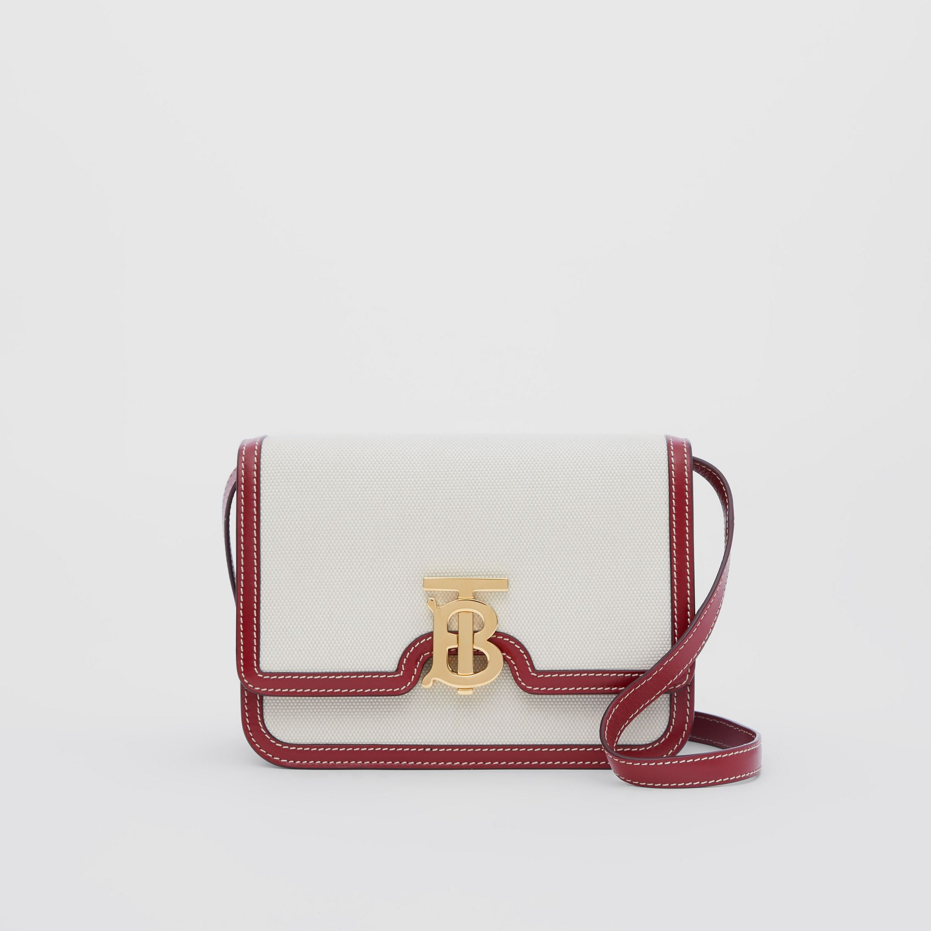 Small Two-tone Canvas and Leather TB Bag in Natural/dark Carmine - Women | Burberry Australia - gallery image 0