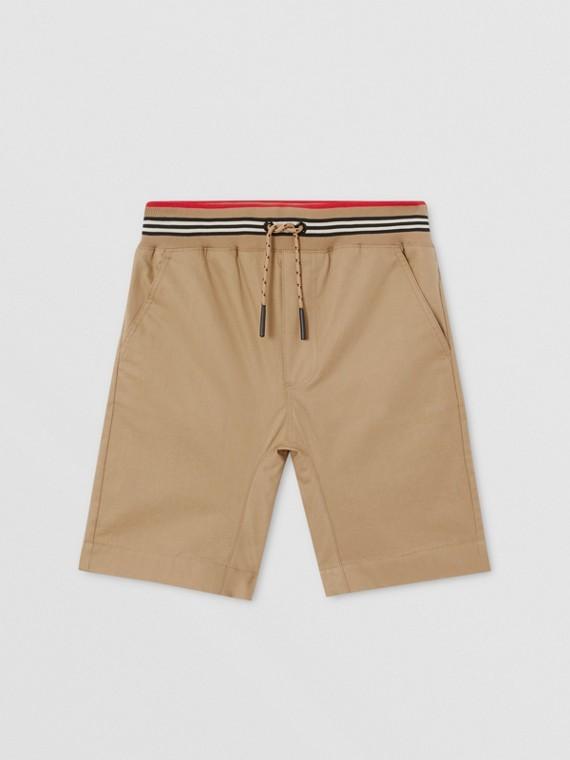 Icon Stripe Detail Cotton Twill Shorts in Archive Beige