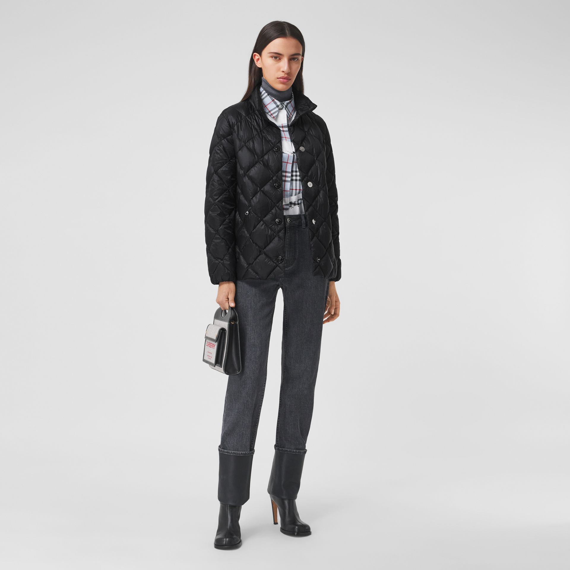 Diamond Quilted Down-filled Jacket in Black - Women | Burberry - gallery image 0