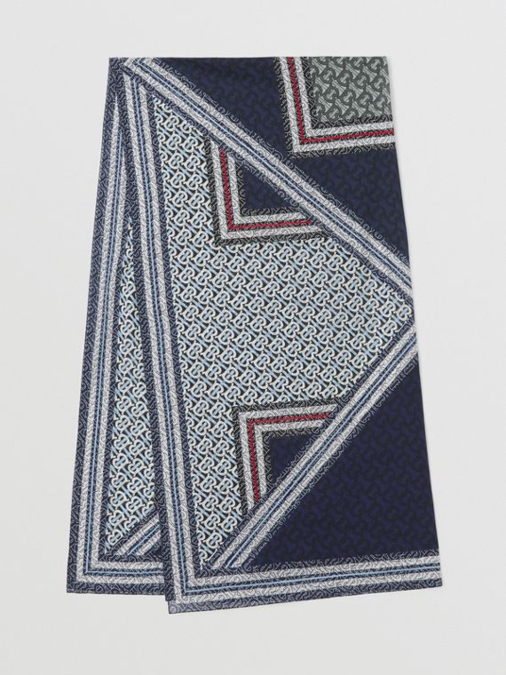 Baumwollsarong mit Monogrammmuster im Streifendesign (Kobaltblau)