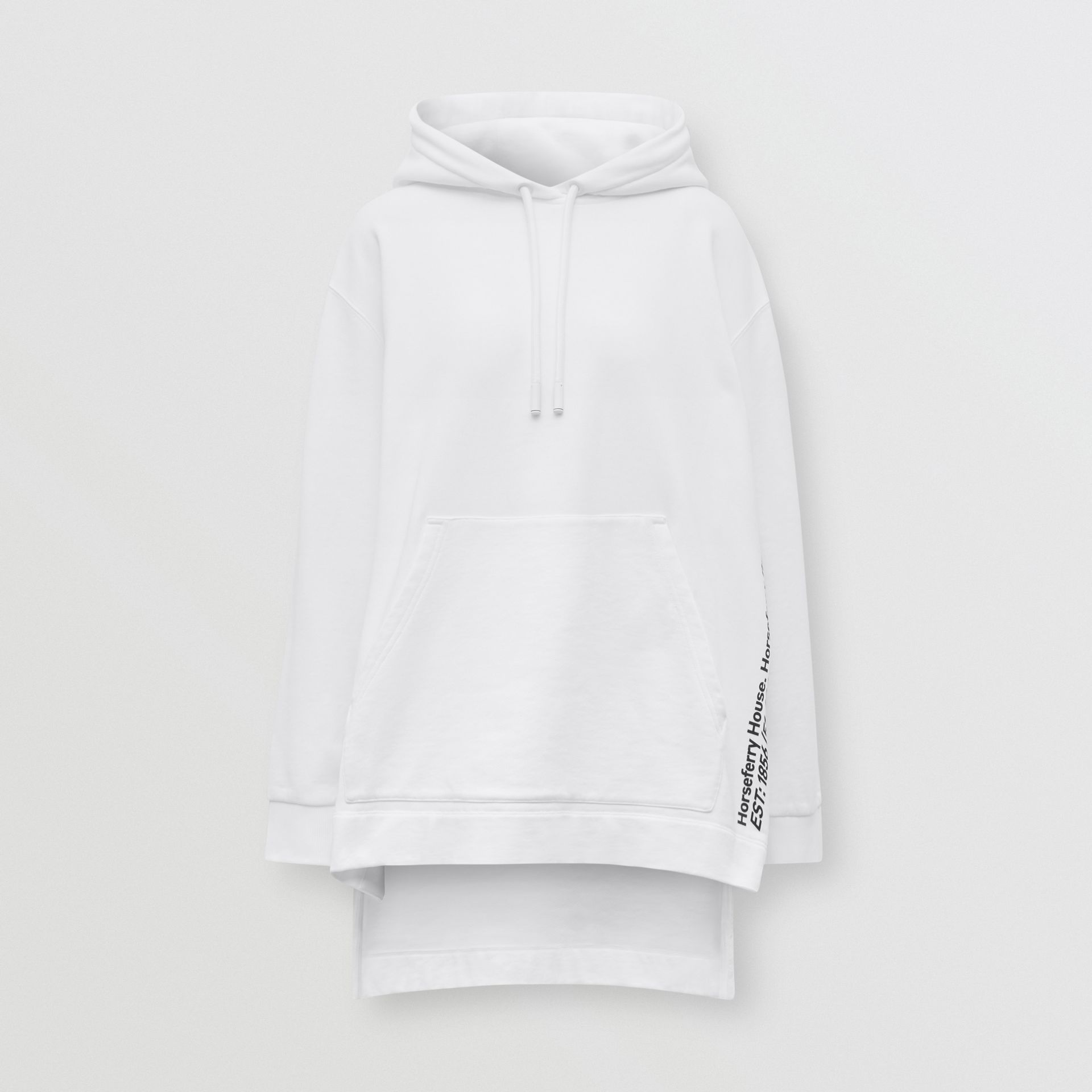 Coordinates Print Cotton Oversized Hoodie in White - Women | Burberry - gallery image 3