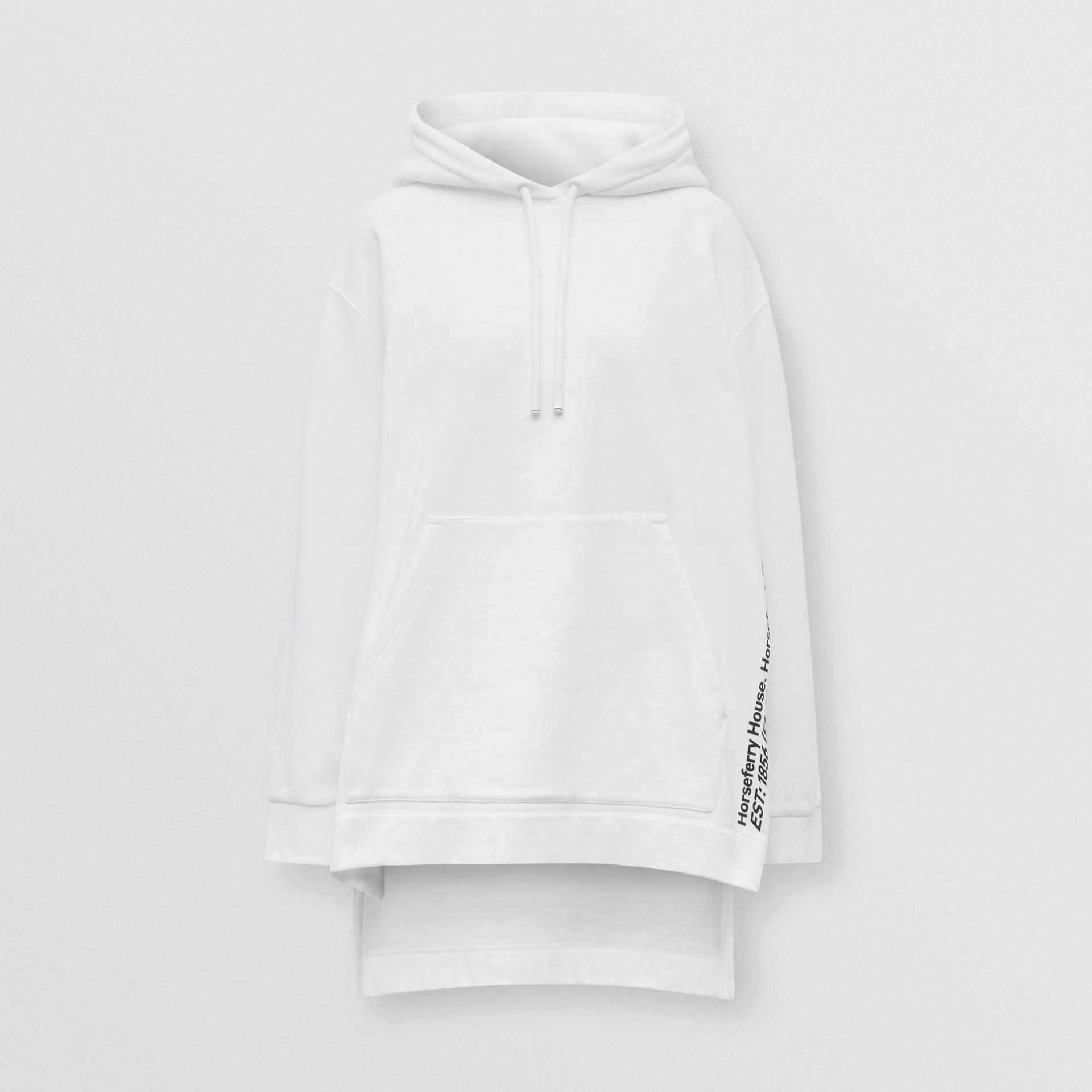 Sweat-shirt à capuche oversize en coton avec coordonnées (Blanc) - Femme | Burberry - photo de la galerie 3