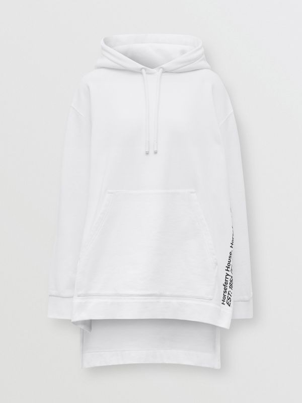 Coordinates Print Cotton Oversized Hoodie in White - Women | Burberry - cell image 3