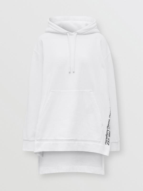 Sweat-shirt à capuche oversize en coton avec coordonnées (Blanc) - Femme | Burberry - cell image 3