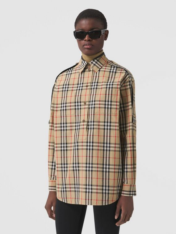 Strap Detail Vintage Check Cotton Oversized Shirt in Archive Beige