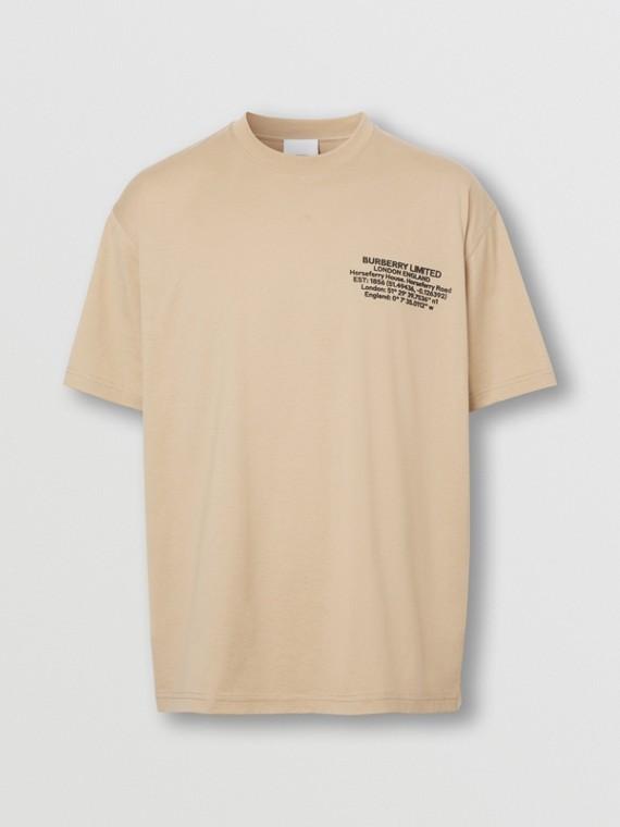 Oversize-T-Shirt aus Baumwolle mit Destinations-Aufdruck (Sanftes Rehbraun)