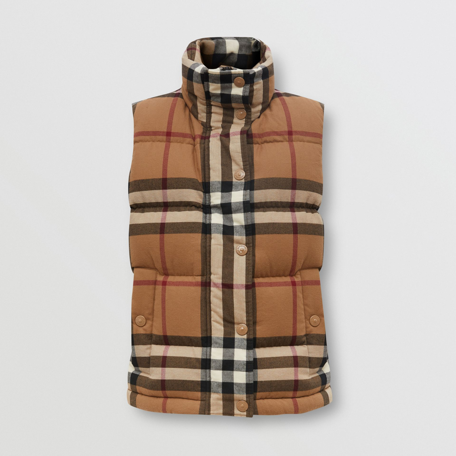 Check Cotton Flannel Puffer Gilet in Birch Brown - Women | Burberry - gallery image 3