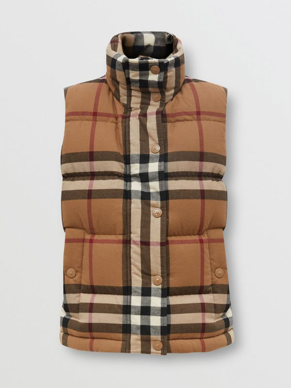 Check Cotton Flannel Puffer Gilet in Birch Brown - Women | Burberry Hong Kong S.A.R. - cell image 3