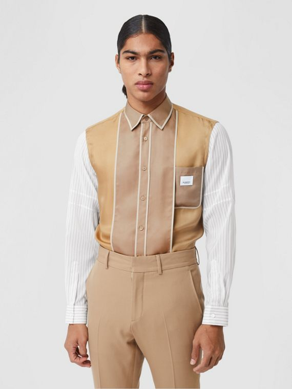 Classic Fit Panelled Silk and Pinstriped Shirt in Camel