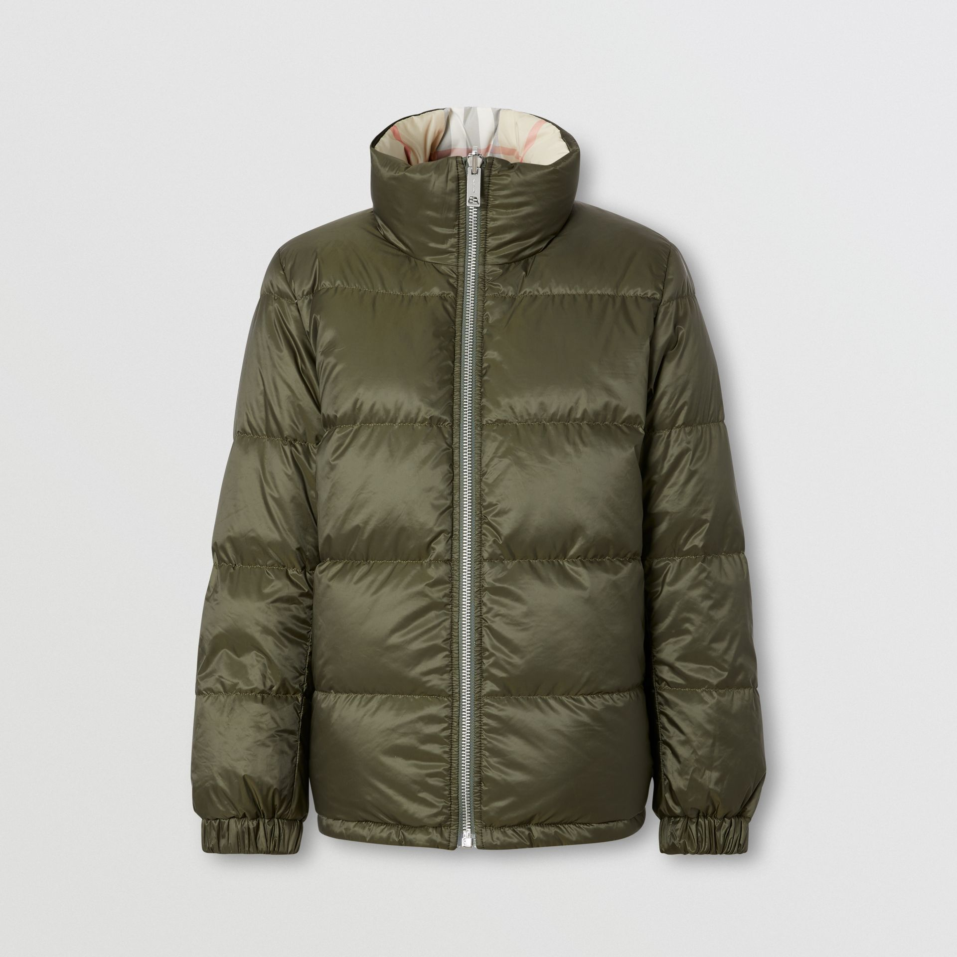 Reversible Check Puffer Jacket in Olive - Women | Burberry - gallery image 2