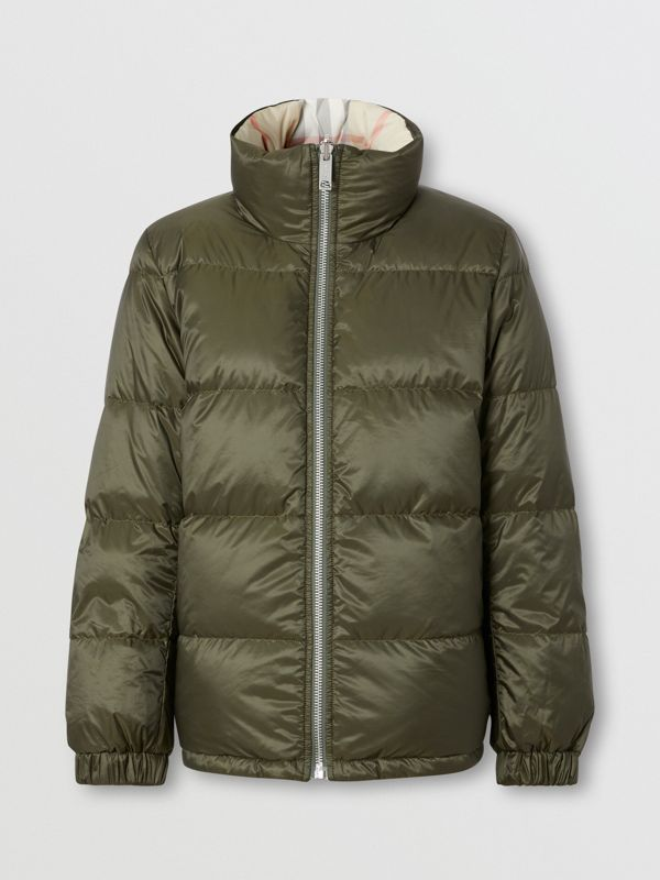 Reversible Check Puffer Jacket in Olive - Women | Burberry Australia - cell image 2
