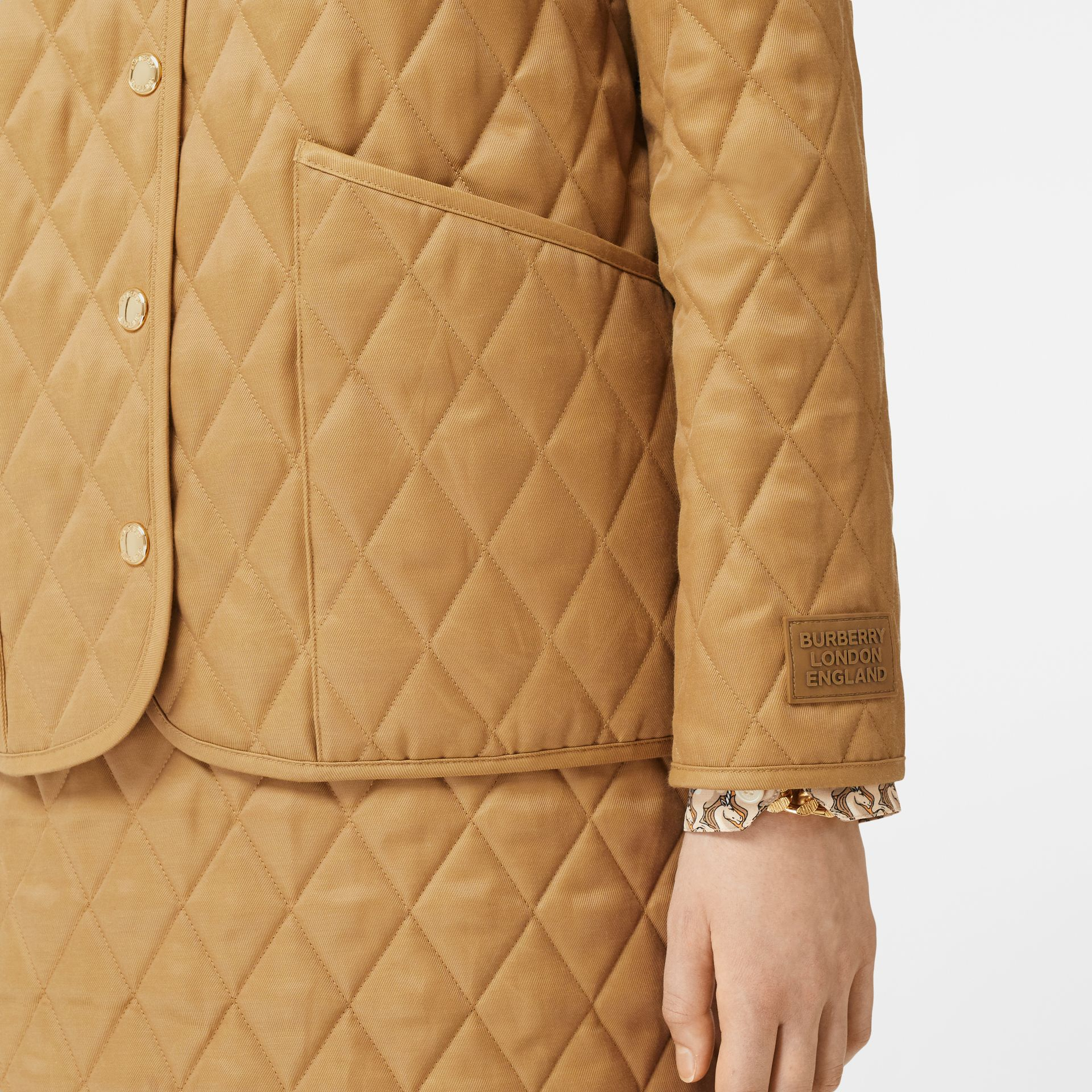 Corduroy Collar Diamond Quilted Jacket in Camel - Women | Burberry - gallery image 3