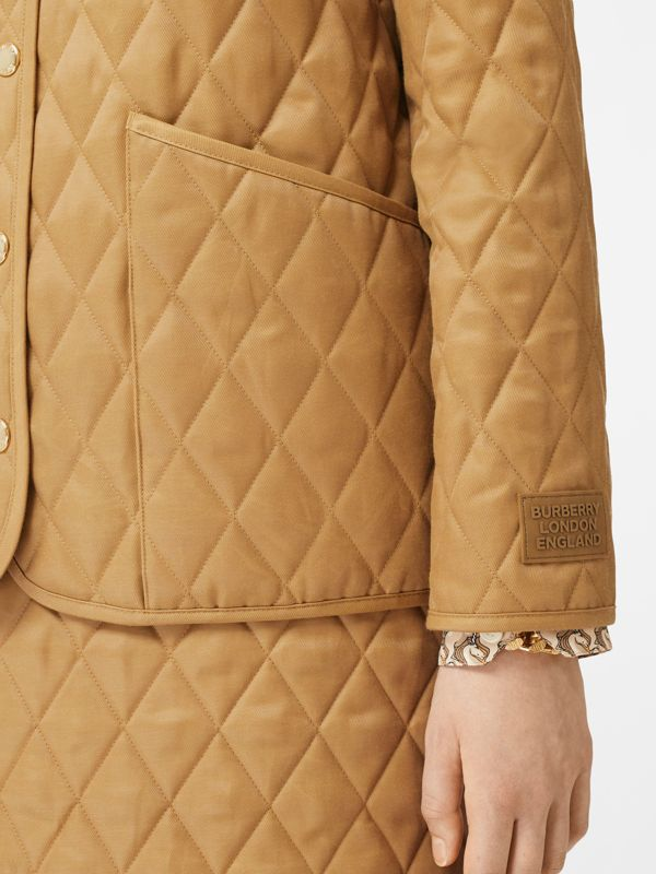 Corduroy Collar Diamond Quilted Jacket in Camel - Women | Burberry - cell image 3