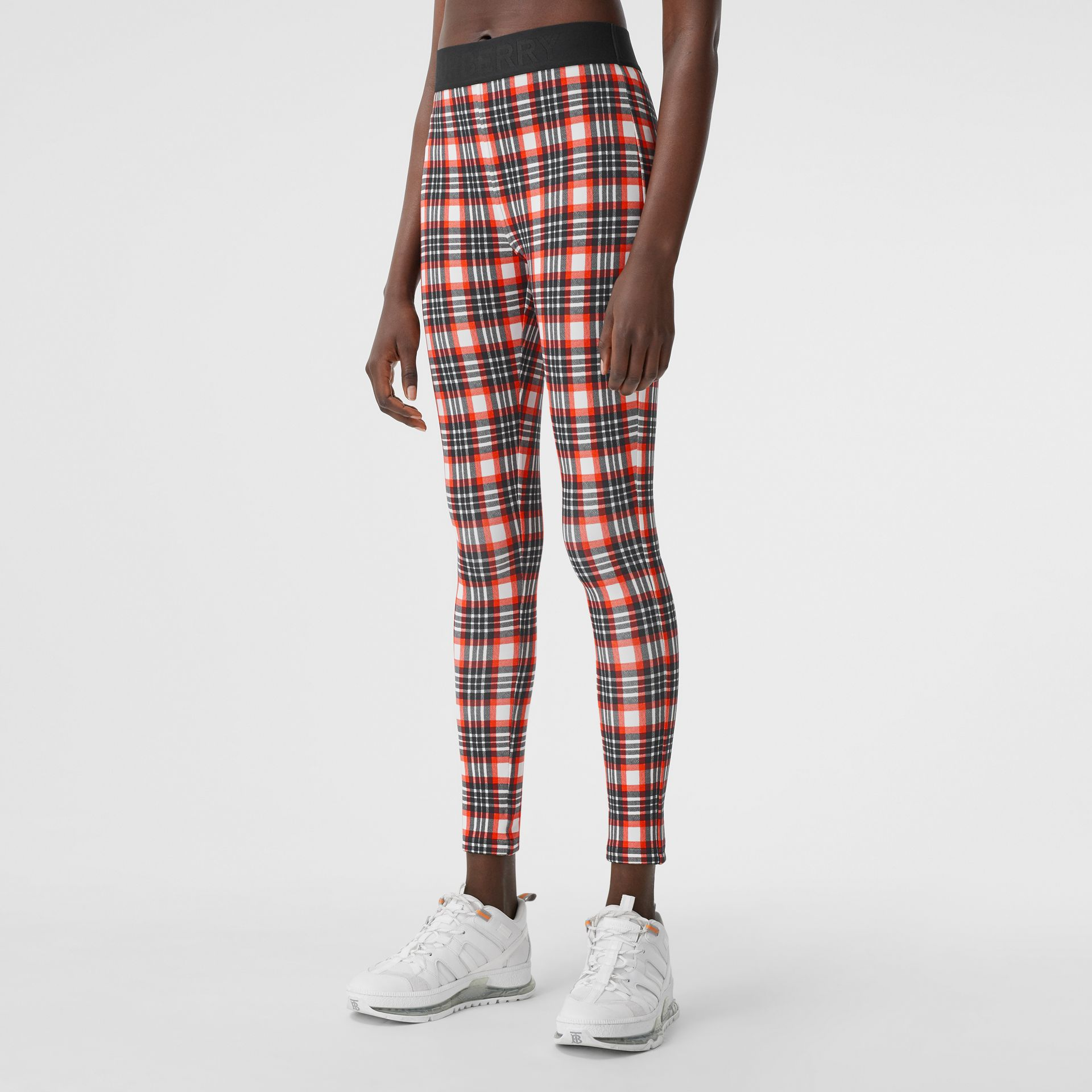 Check Stretch Jersey Leggings – Online Exclusive in Bright Red - Women | Burberry - gallery image 4