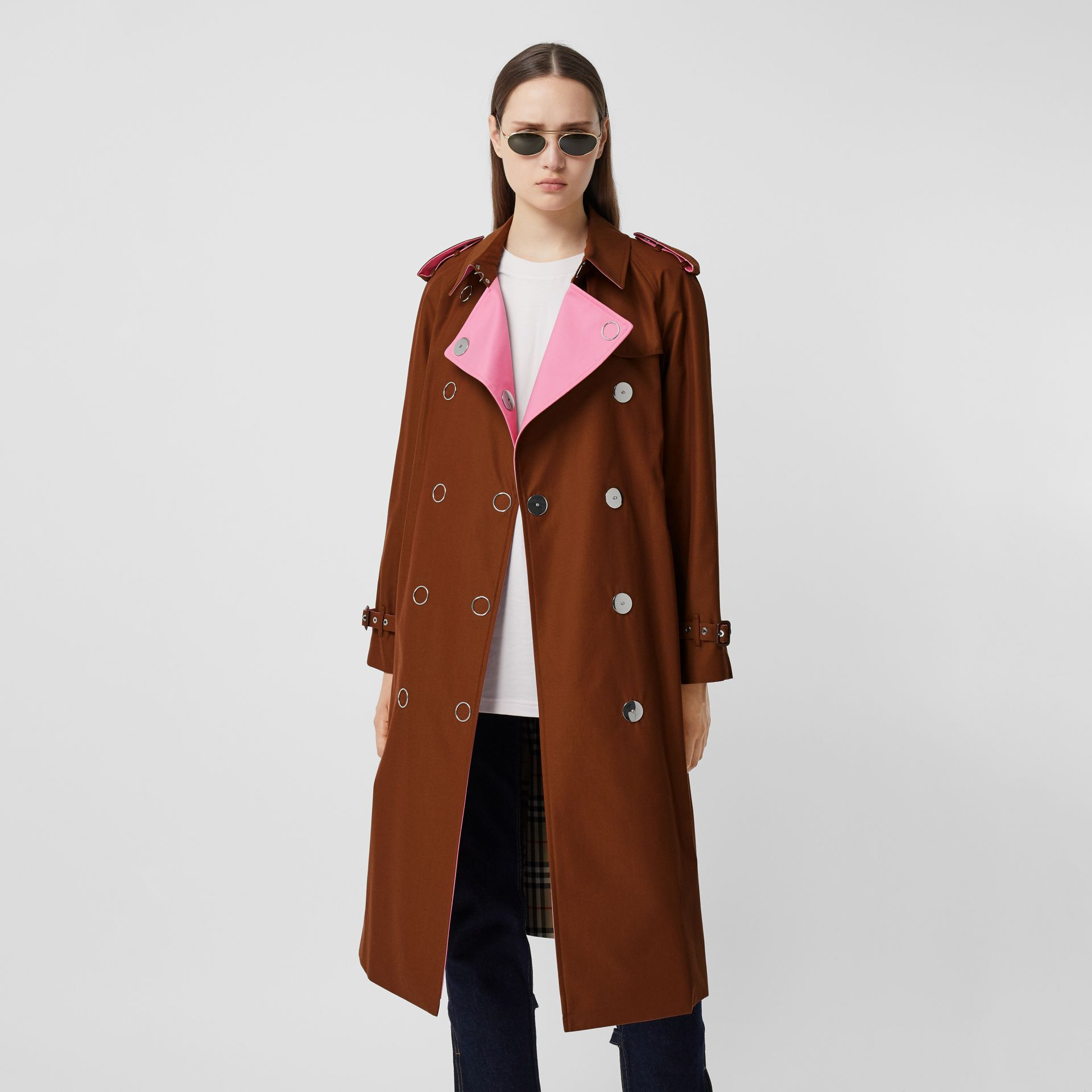 Colour Block Cotton Gabardine Trench Coat in Chestnut Brown - Women | Burberry - gallery image 5