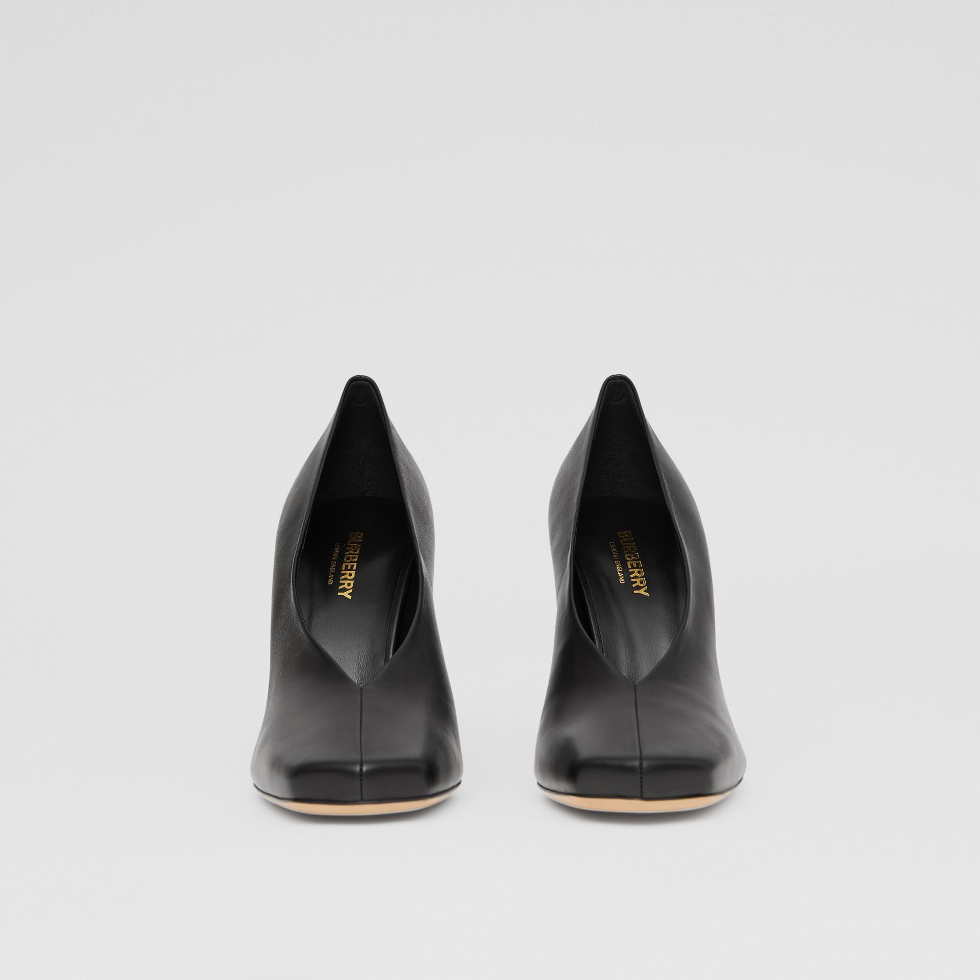 Lambskin Sculptural Pumps in Black - Women | Burberry - gallery image 3