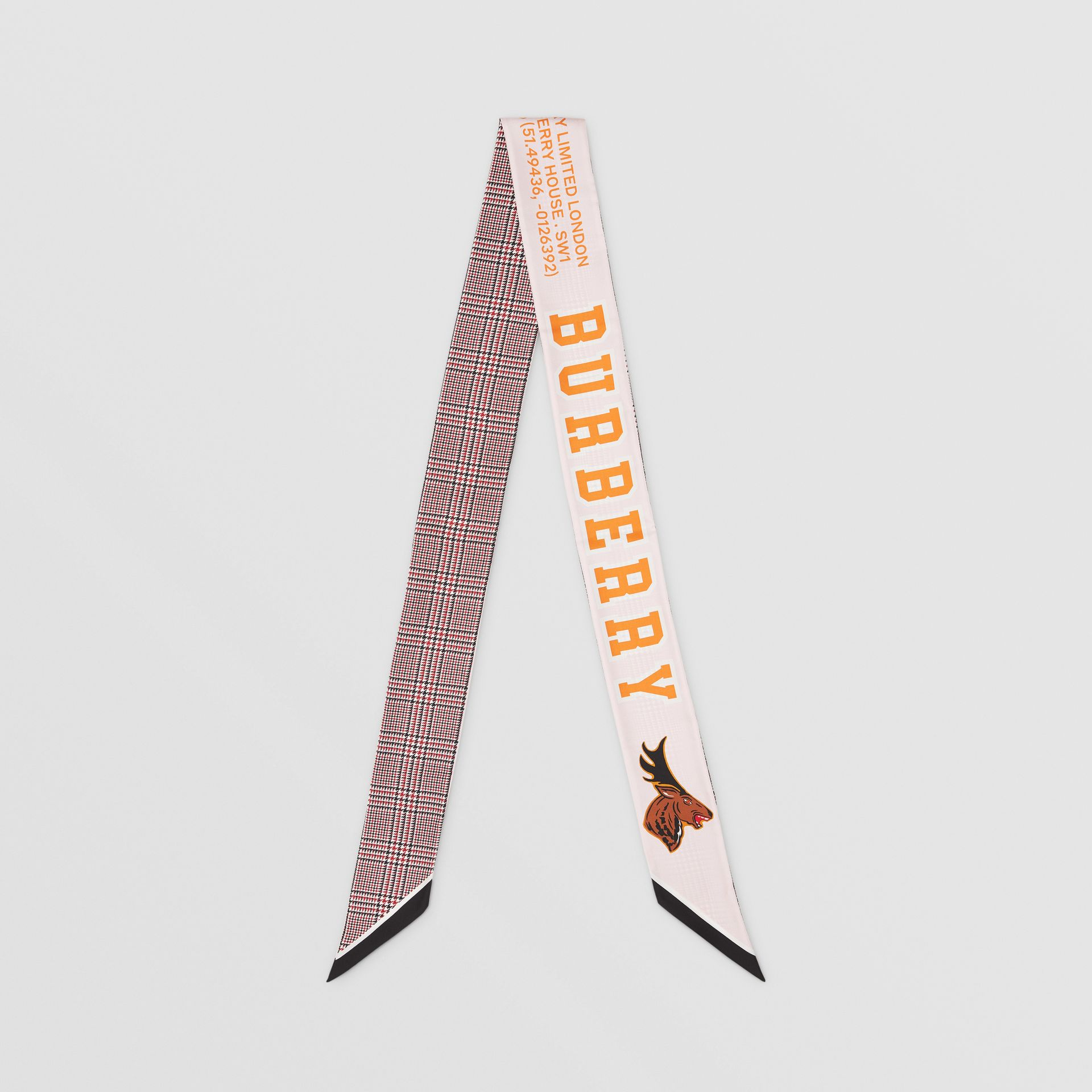 Varsity Graphic and Houndstooth Check Silk Skinny Scarf in Pink | Burberry - gallery image 0