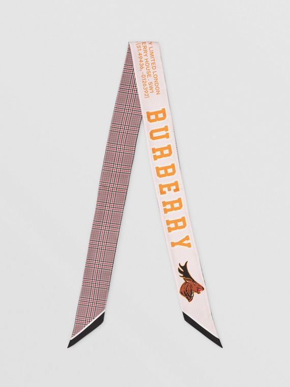 Varsity Graphic and Houndstooth Check Silk Skinny Scarf in Pink