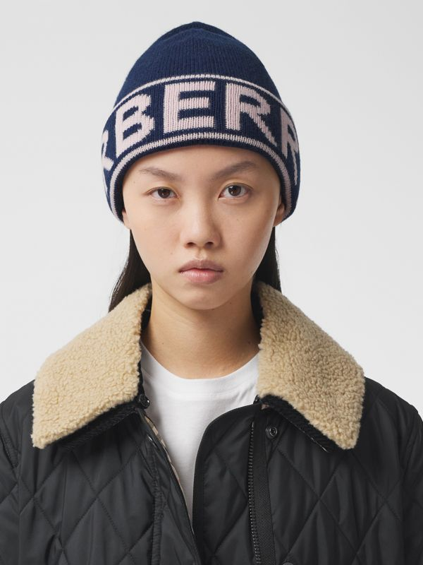 Logo Intarsia Cashmere Beanie in Navy | Burberry - cell image 2
