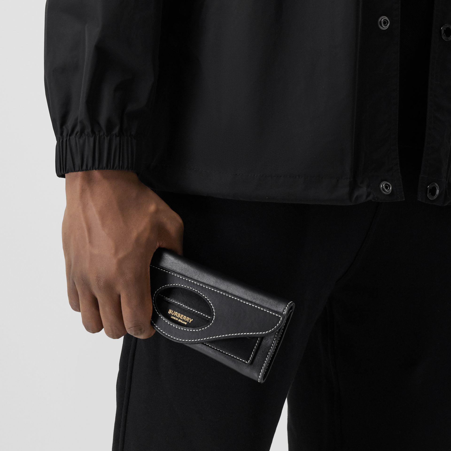 Mini Topstitched Lambskin Pocket Clutch in Black | Burberry - gallery image 13