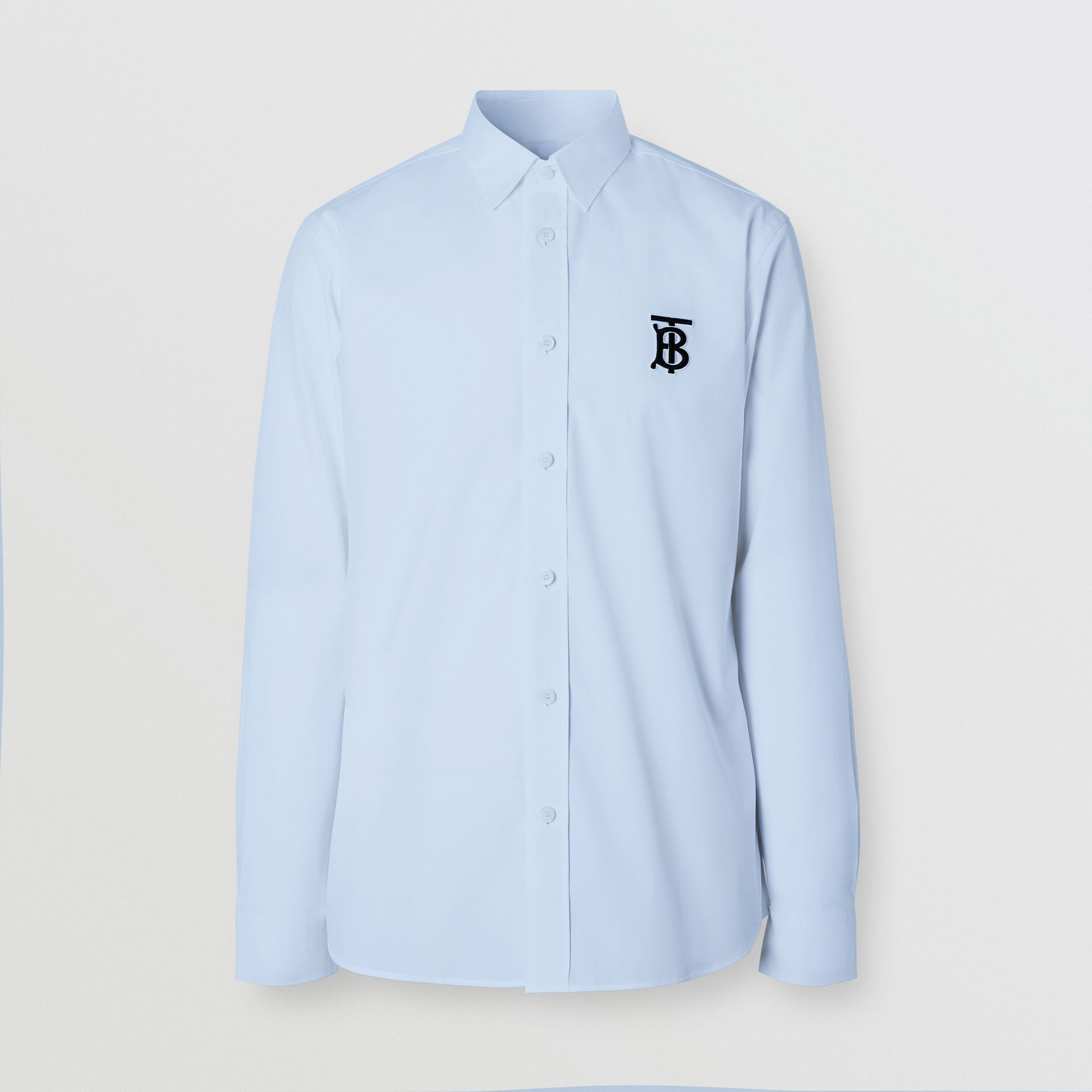Embroidered Motifs Stretch Cotton Poplin Shirt in Pale Blue - Men | Burberry - gallery image 5