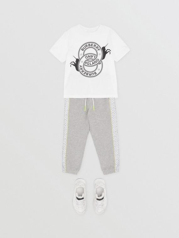 ロゴグラフィック&ユニコーンプリント コットンTシャツ (ホワイト)