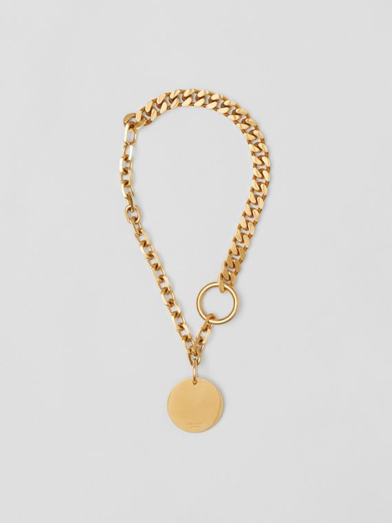 Gold-plated Medallion Chain-link Necklace in Antique