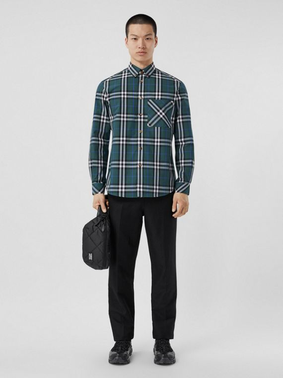 Check Cotton Poplin Shirt in Dark Forest Green